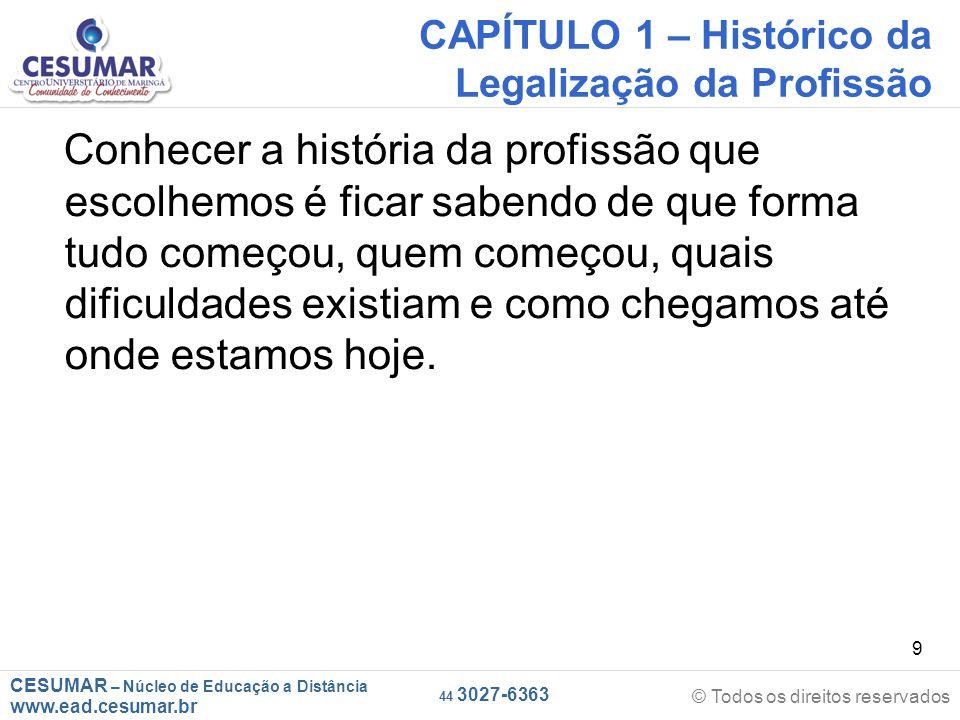 CESUMAR – Núcleo de Educação a Distância www.ead.cesumar.br © Todos os direitos reservados 44 3027-6363 20 CAPÍTULO 2 – Regulamentação da Profissão de Corretor de Imóveis A Lei nº 4.116 de 27 de agosto de 1962, foi a primeira a regulamentar a PROFISSÃO DE CORRETOR DE IMÓVEIS, era composta por 21 artigos.