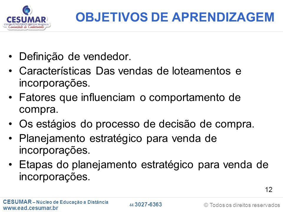 CESUMAR – Núcleo de Educação a Distância www.ead.cesumar.br © Todos os direitos reservados 44 3027-6363 12 OBJETIVOS DE APRENDIZAGEM Definição de vend