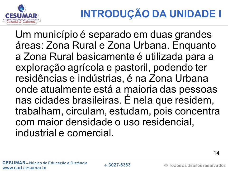 CESUMAR – Núcleo de Educação a Distância www.ead.cesumar.br © Todos os direitos reservados 44 3027-6363 14 INTRODUÇÃO DA UNIDADE I Um município é sepa