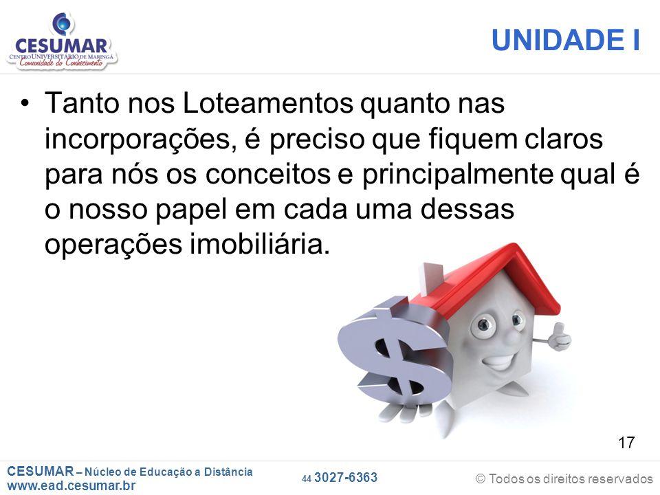 CESUMAR – Núcleo de Educação a Distância www.ead.cesumar.br © Todos os direitos reservados 44 3027-6363 17 UNIDADE I Tanto nos Loteamentos quanto nas