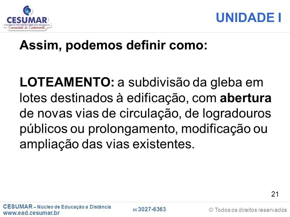 CESUMAR – Núcleo de Educação a Distância www.ead.cesumar.br © Todos os direitos reservados 44 3027-6363 21 UNIDADE I Assim, podemos definir como: LOTE