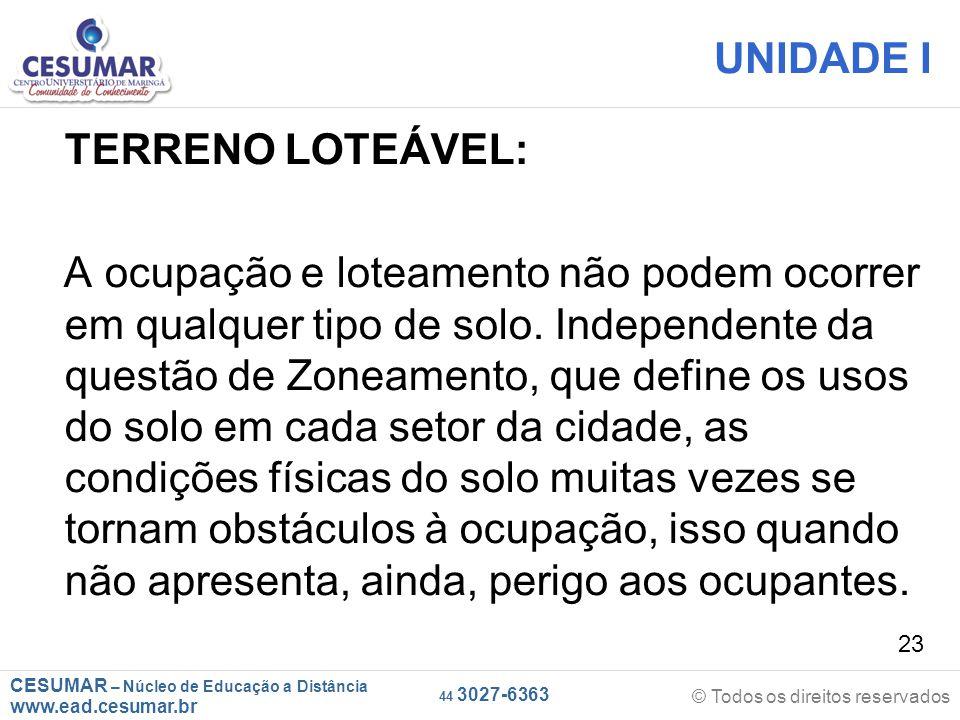 CESUMAR – Núcleo de Educação a Distância www.ead.cesumar.br © Todos os direitos reservados 44 3027-6363 23 UNIDADE I TERRENO LOTEÁVEL: A ocupação e lo