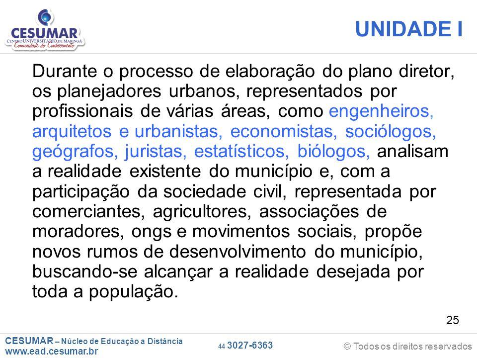 CESUMAR – Núcleo de Educação a Distância www.ead.cesumar.br © Todos os direitos reservados 44 3027-6363 25 UNIDADE I Durante o processo de elaboração