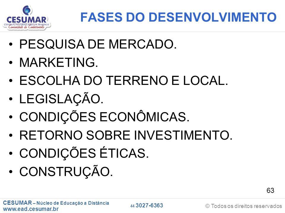 CESUMAR – Núcleo de Educação a Distância www.ead.cesumar.br © Todos os direitos reservados 44 3027-6363 63 FASES DO DESENVOLVIMENTO PESQUISA DE MERCAD