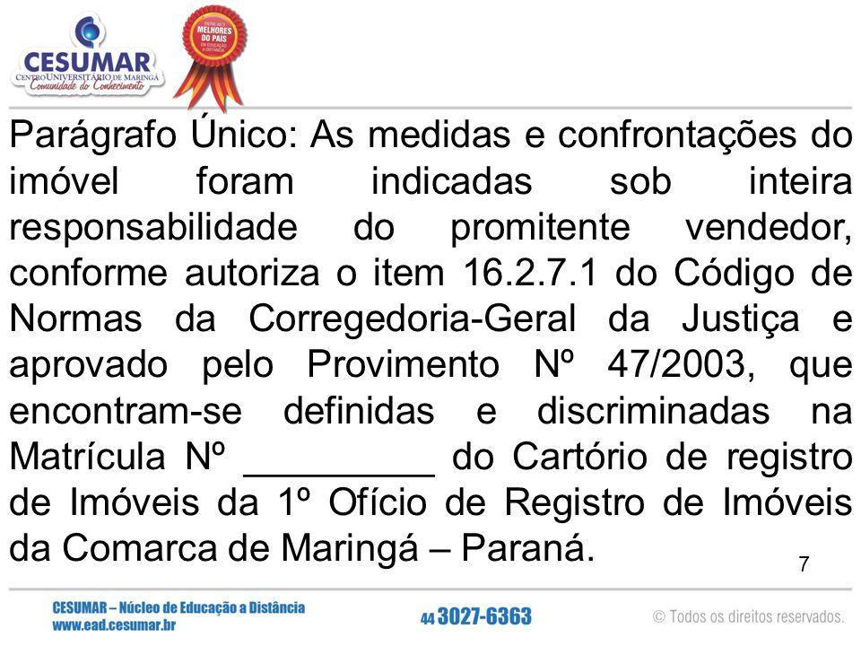 7 Parágrafo Único: As medidas e confrontações do imóvel foram indicadas sob inteira responsabilidade do promitente vendedor, conforme autoriza o item