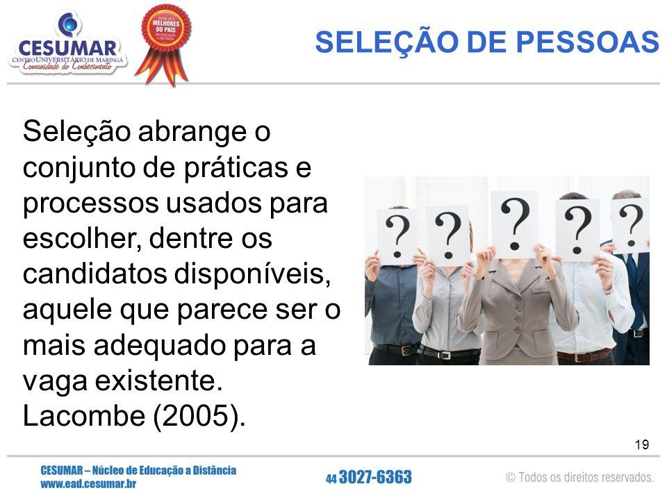 19 SELEÇÃO DE PESSOAS Seleção abrange o conjunto de práticas e processos usados para escolher, dentre os candidatos disponíveis, aquele que parece ser o mais adequado para a vaga existente.