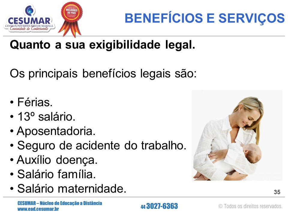 35 BENEFÍCIOS E SERVIÇOS Quanto a sua exigibilidade legal.