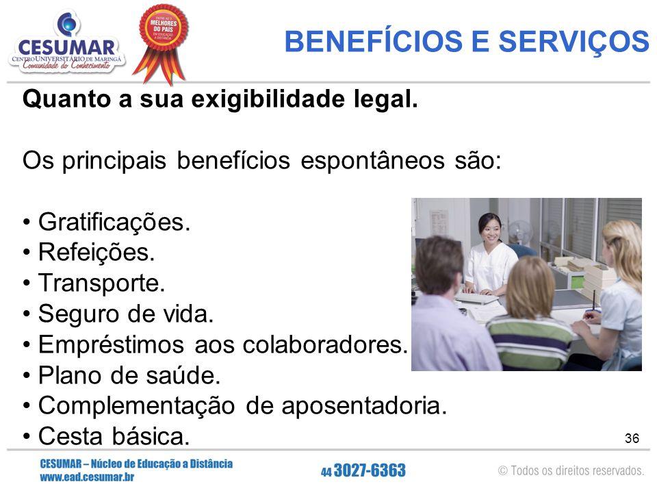 36 BENEFÍCIOS E SERVIÇOS Quanto a sua exigibilidade legal.