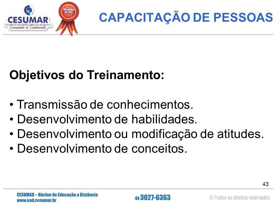 43 CAPACITAÇÃO DE PESSOAS Objetivos do Treinamento: Transmissão de conhecimentos.