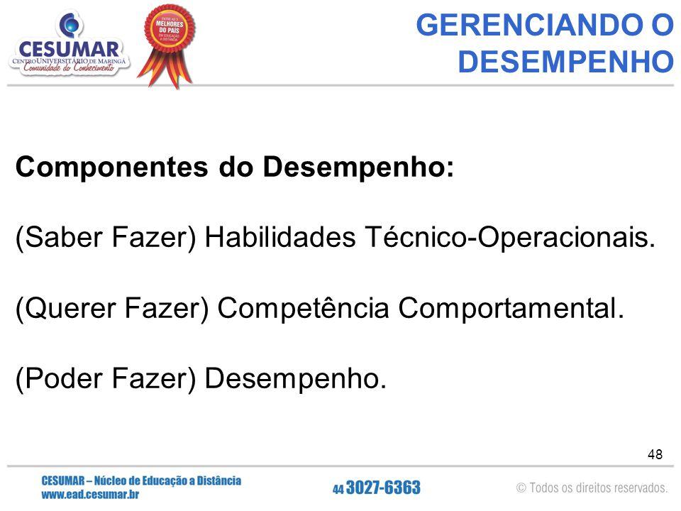 48 GERENCIANDO O DESEMPENHO Componentes do Desempenho: (Saber Fazer) Habilidades Técnico-Operacionais.