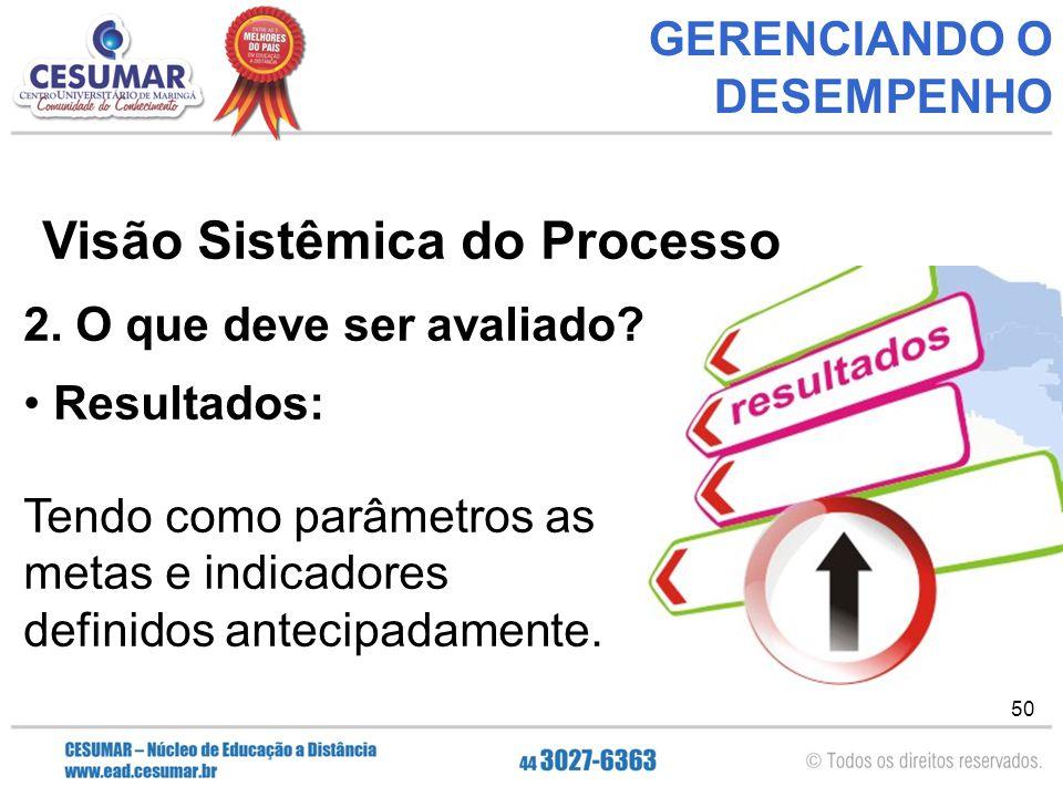 50 GERENCIANDO O DESEMPENHO Visão Sistêmica do Processo 2.
