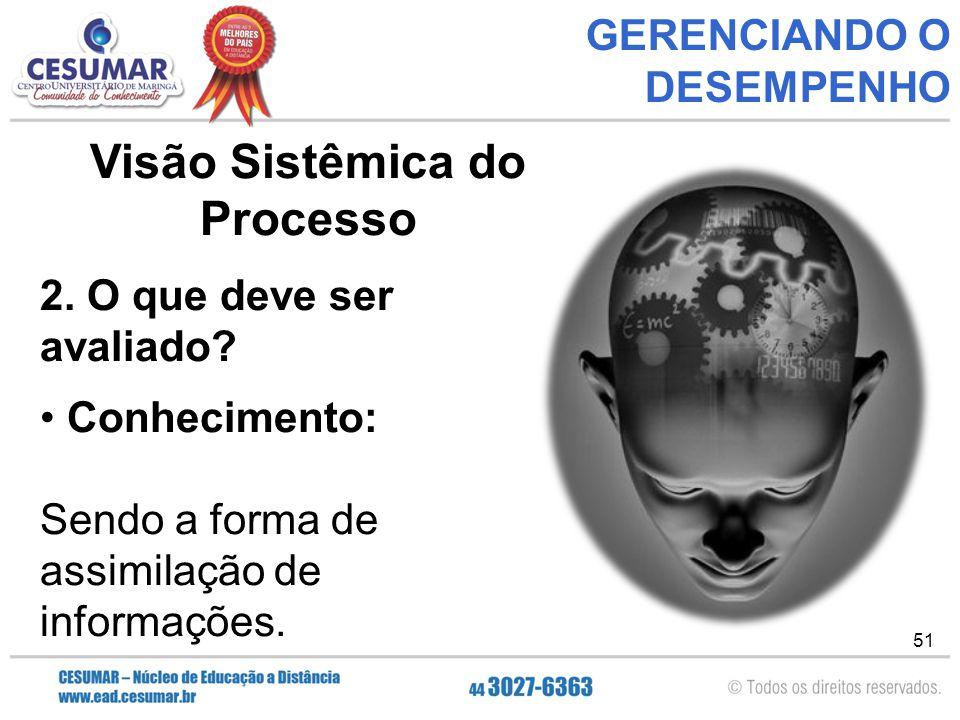 51 GERENCIANDO O DESEMPENHO Visão Sistêmica do Processo 2.