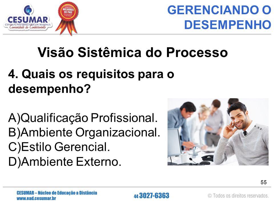 55 GERENCIANDO O DESEMPENHO Visão Sistêmica do Processo 4.