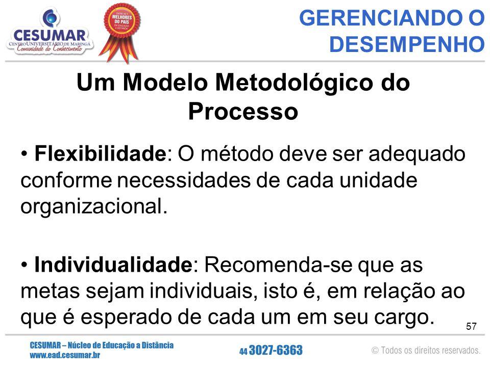 57 GERENCIANDO O DESEMPENHO Um Modelo Metodológico do Processo Flexibilidade: O método deve ser adequado conforme necessidades de cada unidade organizacional.
