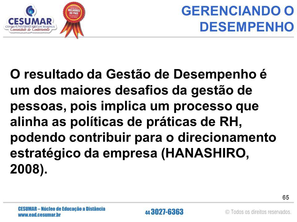 65 GERENCIANDO O DESEMPENHO O resultado da Gestão de Desempenho é um dos maiores desafios da gestão de pessoas, pois implica um processo que alinha as políticas de práticas de RH, podendo contribuir para o direcionamento estratégico da empresa (HANASHIRO, 2008).