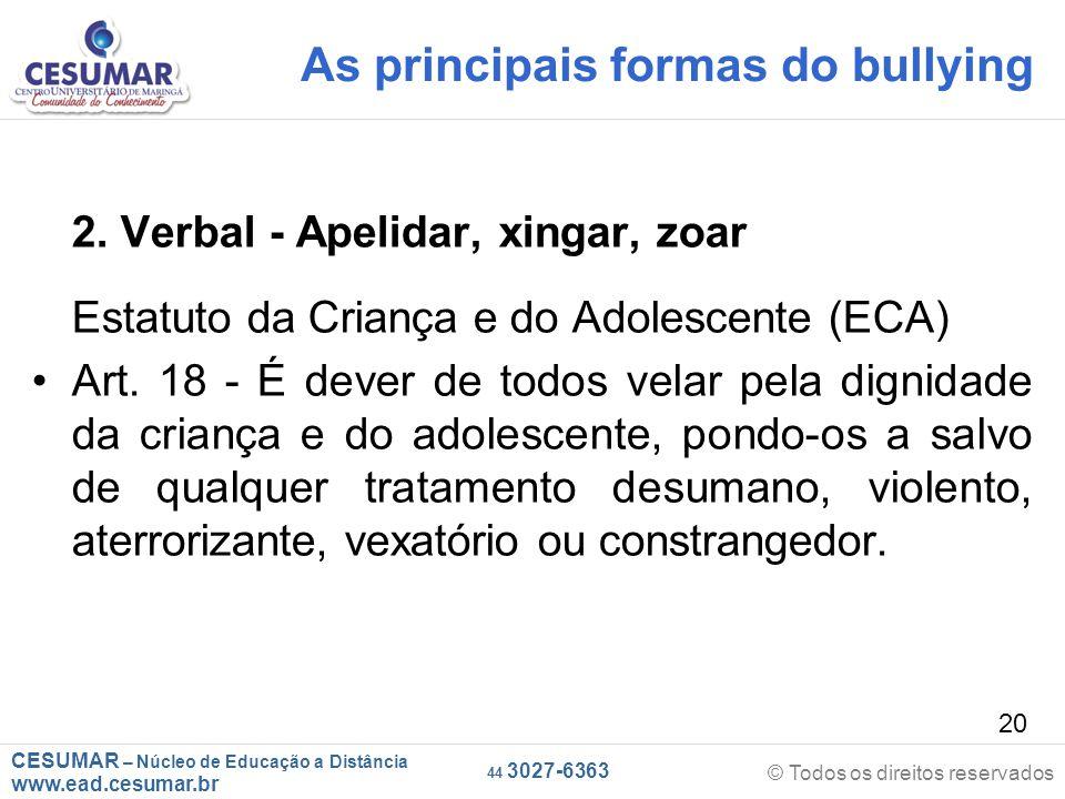 CESUMAR – Núcleo de Educação a Distância www.ead.cesumar.br © Todos os direitos reservados 44 3027-6363 20 As principais formas do bullying 2.
