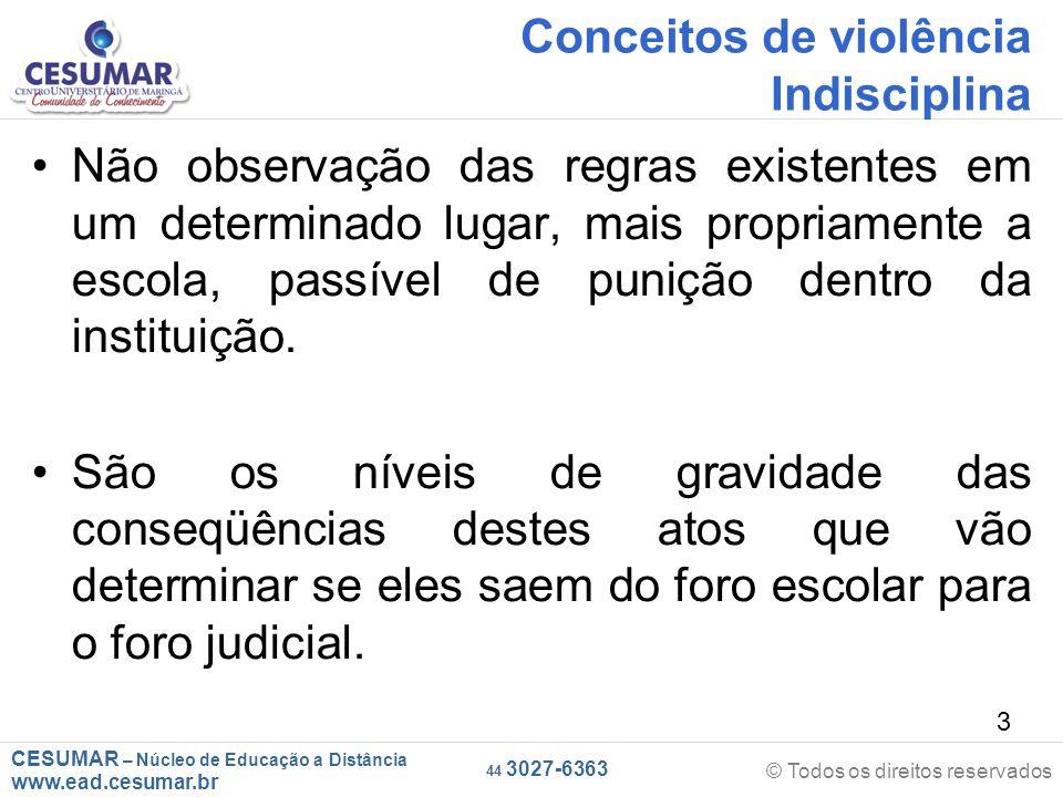 CESUMAR – Núcleo de Educação a Distância www.ead.cesumar.br © Todos os direitos reservados 44 3027-6363 34 As consequências As consequências do bullyng dependem das características individuais de cada um.