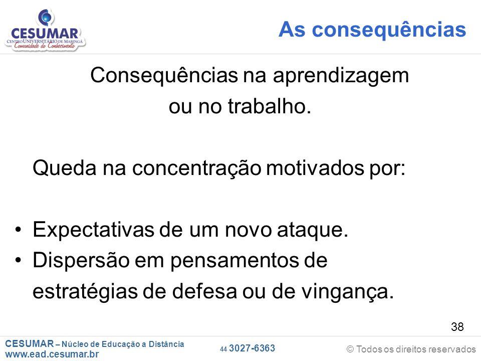CESUMAR – Núcleo de Educação a Distância www.ead.cesumar.br © Todos os direitos reservados 44 3027-6363 38 As consequências Consequências na aprendizagem ou no trabalho.