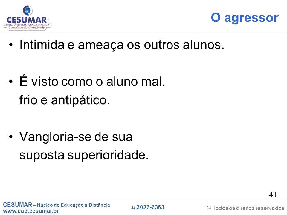 CESUMAR – Núcleo de Educação a Distância www.ead.cesumar.br © Todos os direitos reservados 44 3027-6363 41 O agressor Intimida e ameaça os outros alunos.