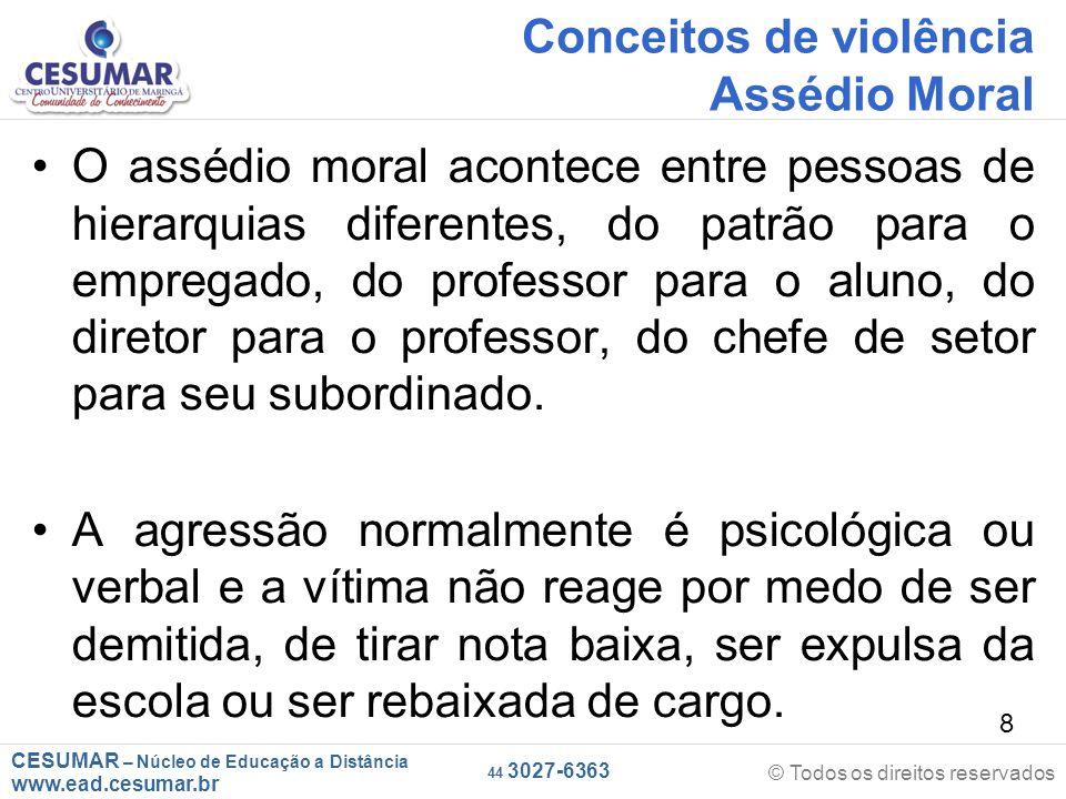 CESUMAR – Núcleo de Educação a Distância www.ead.cesumar.br © Todos os direitos reservados 44 3027-6363 39 As consequências Desinteresse pelos estudos ou pelo trabalho.
