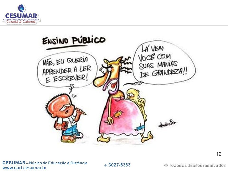 CESUMAR – Núcleo de Educação a Distância www.ead.cesumar.br © Todos os direitos reservados 44 3027-6363 12