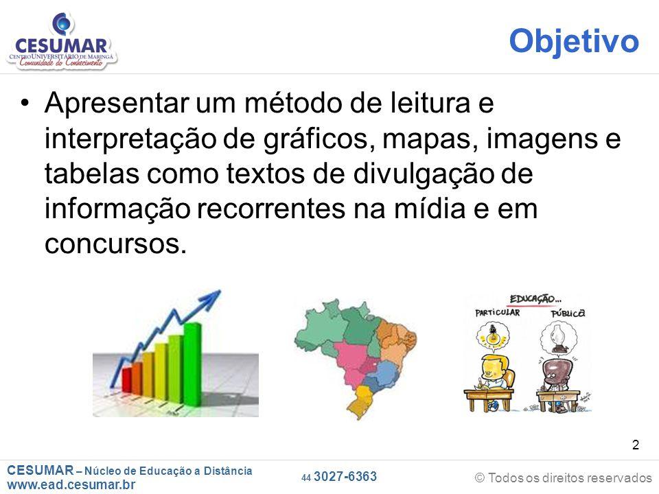 CESUMAR – Núcleo de Educação a Distância www.ead.cesumar.br © Todos os direitos reservados 44 3027-6363 33 CONSIDERAÇÕES FINAIS Leia com muita atenção os comandos das questões.