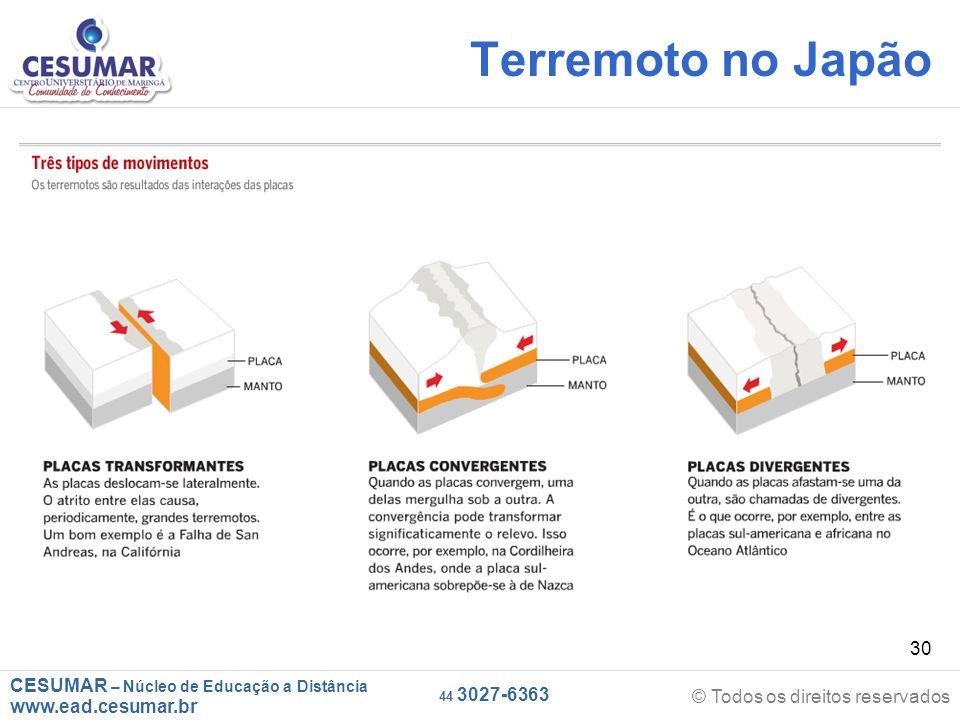 CESUMAR – Núcleo de Educação a Distância www.ead.cesumar.br © Todos os direitos reservados 44 3027-6363 30 Terremoto no Japão