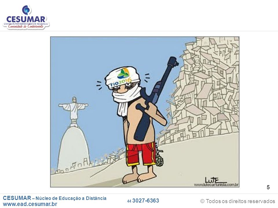 CESUMAR – Núcleo de Educação a Distância www.ead.cesumar.br © Todos os direitos reservados 44 3027-6363 26 * O mapa abaixo representa as áreas populacionais sem acesso ao saneamento básico: Philippe Rekacewicz (Le Monde Diplomatique).