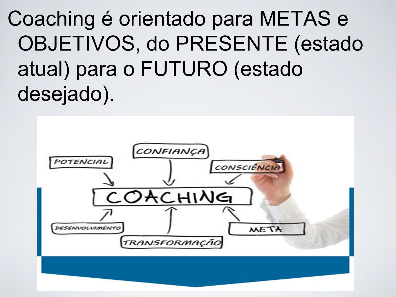 Coaching é orientado para METAS e OBJETIVOS, do PRESENTE (estado atual) para o FUTURO (estado desejado).