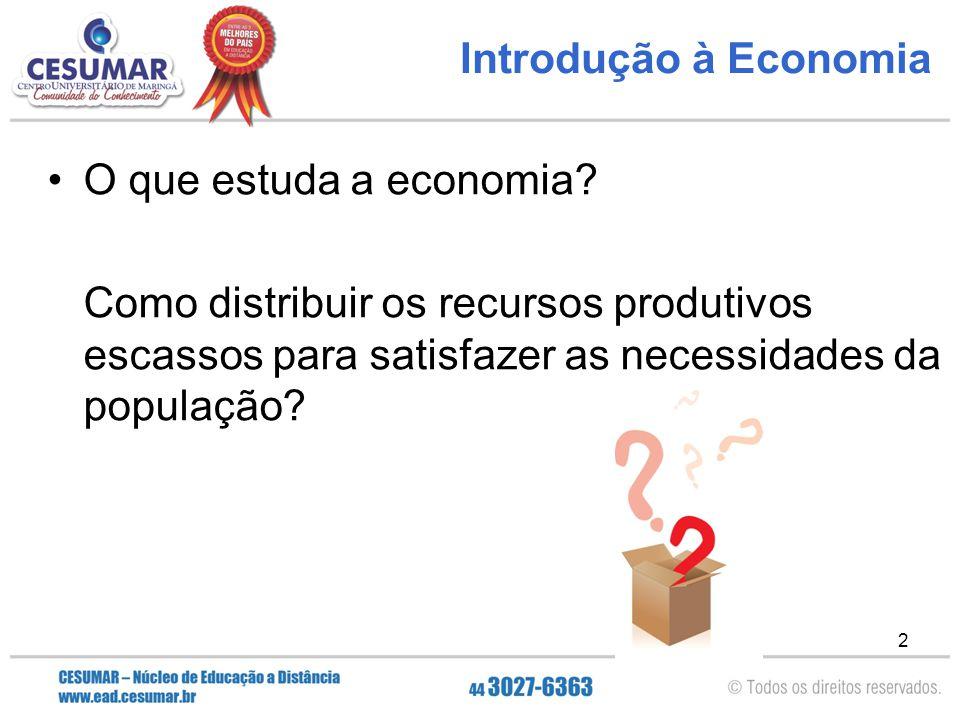 2 Introdução à Economia O que estuda a economia? Como distribuir os recursos produtivos escassos para satisfazer as necessidades da população?