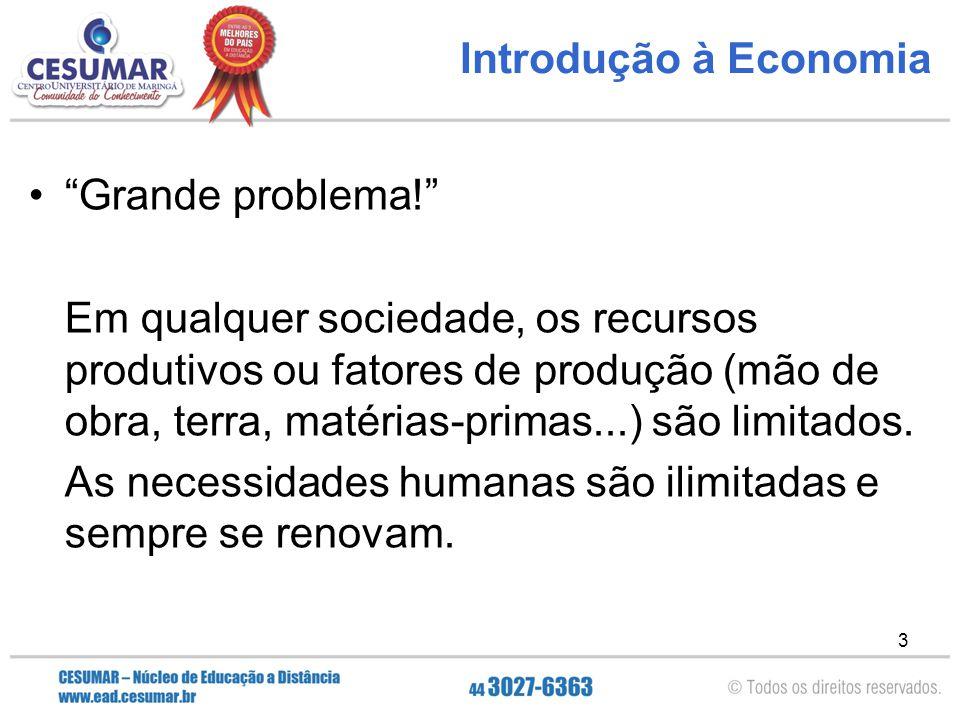 """3 Introdução à Economia """"Grande problema!"""" Em qualquer sociedade, os recursos produtivos ou fatores de produção (mão de obra, terra, matérias-primas.."""