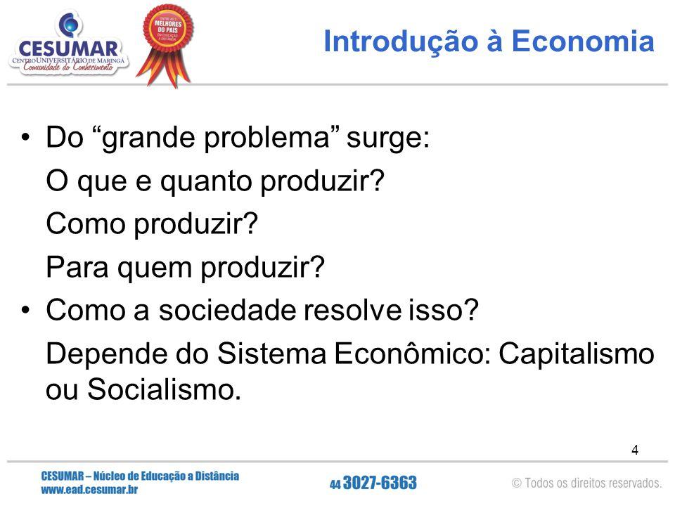 """4 Introdução à Economia Do """"grande problema"""" surge: O que e quanto produzir? Como produzir? Para quem produzir? Como a sociedade resolve isso? Depende"""
