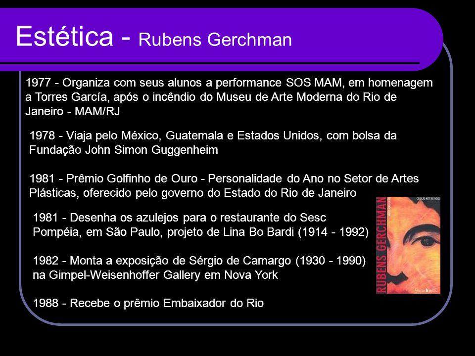 Estética - Rubens Gerchman 1977 - Organiza com seus alunos a performance SOS MAM, em homenagem a Torres García, após o incêndio do Museu de Arte Moder