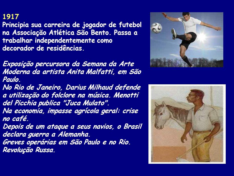 1917 Principia sua carreira de jogador de futebol na Associação Atlética São Bento.