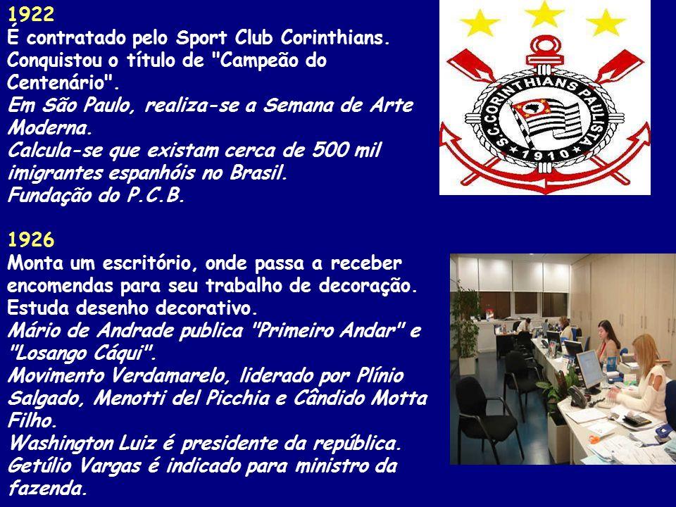 1922 É contratado pelo Sport Club Corinthians.Conquistou o título de Campeão do Centenário .