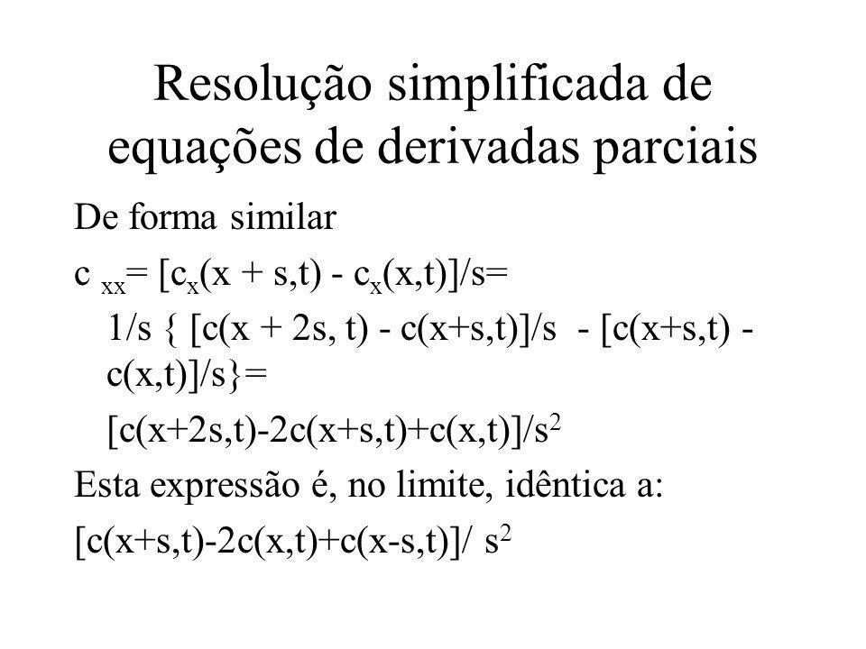 Resolução simplificada de equações de derivadas parciais De forma similar c xx = [c x (x + s,t) - c x (x,t)]/s= 1/s { [c(x + 2s, t) - c(x+s,t)]/s - [c(x+s,t) - c(x,t)]/s}= [c(x+2s,t)-2c(x+s,t)+c(x,t)]/s 2 Esta expressão é, no limite, idêntica a: [c(x+s,t)-2c(x,t)+c(x-s,t)]/ s 2