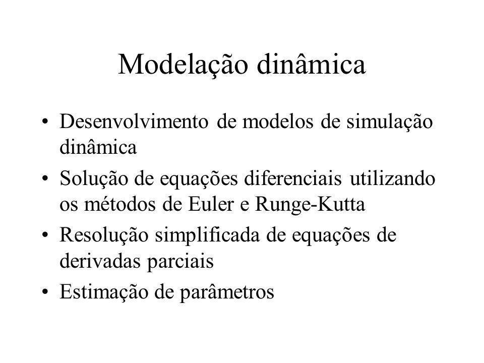 Modelação dinâmica Desenvolvimento de modelos de simulação dinâmica Solução de equações diferenciais utilizando os métodos de Euler e Runge-Kutta Resolução simplificada de equações de derivadas parciais Estimação de parâmetros