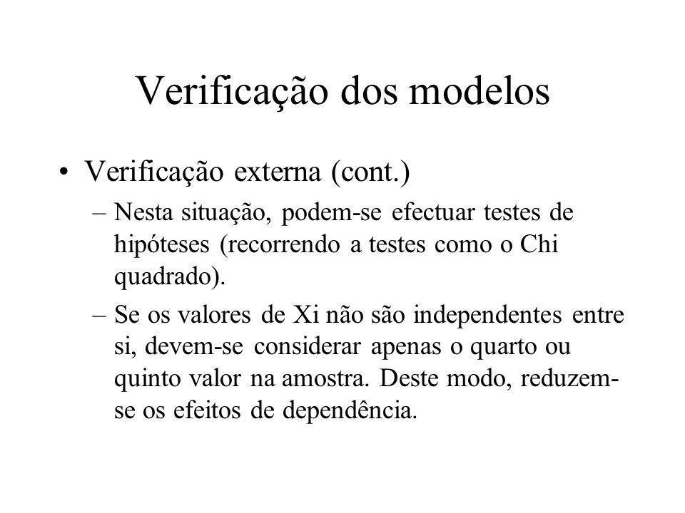 Verificação dos modelos Verificação externa (cont.) –Nesta situação, podem-se efectuar testes de hipóteses (recorrendo a testes como o Chi quadrado).