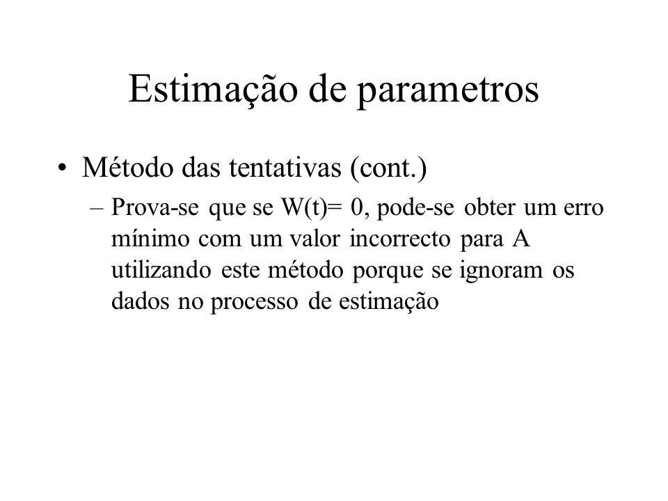 Estimação de parametros Método das tentativas (cont.) –Prova-se que se W(t)= 0, pode-se obter um erro mínimo com um valor incorrecto para A utilizando este método porque se ignoram os dados no processo de estimação