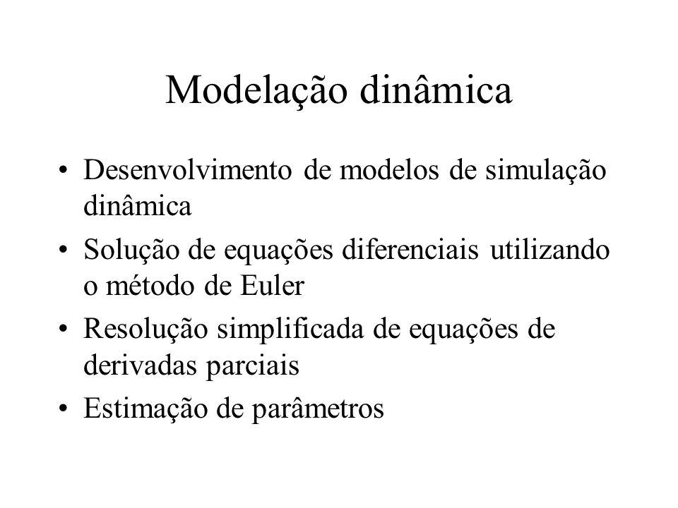 Modelação dinâmica Desenvolvimento de modelos de simulação dinâmica Solução de equações diferenciais utilizando o método de Euler Resolução simplificada de equações de derivadas parciais Estimação de parâmetros
