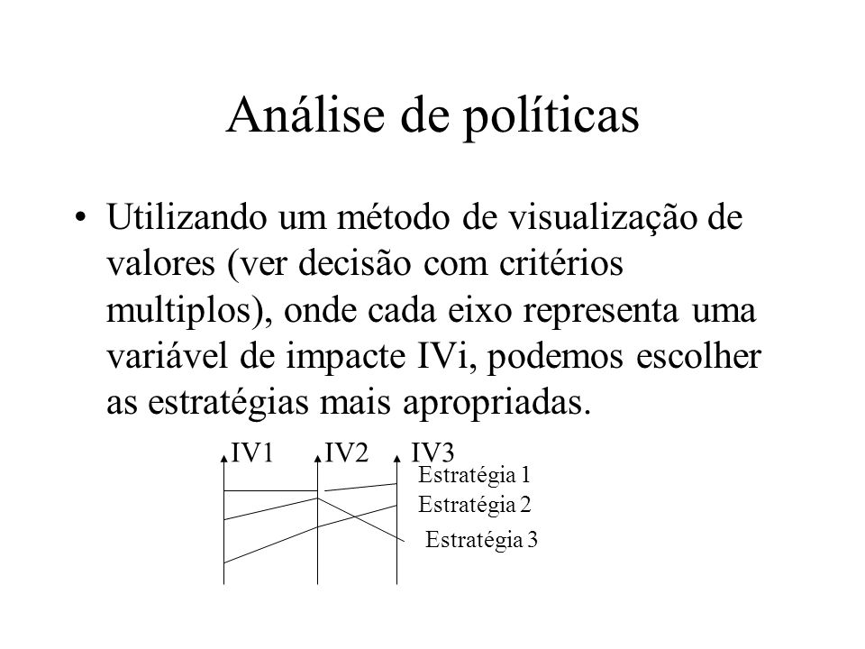 Análise de políticas Utilizando um método de visualização de valores (ver decisão com critérios multiplos), onde cada eixo representa uma variável de impacte IVi, podemos escolher as estratégias mais apropriadas.