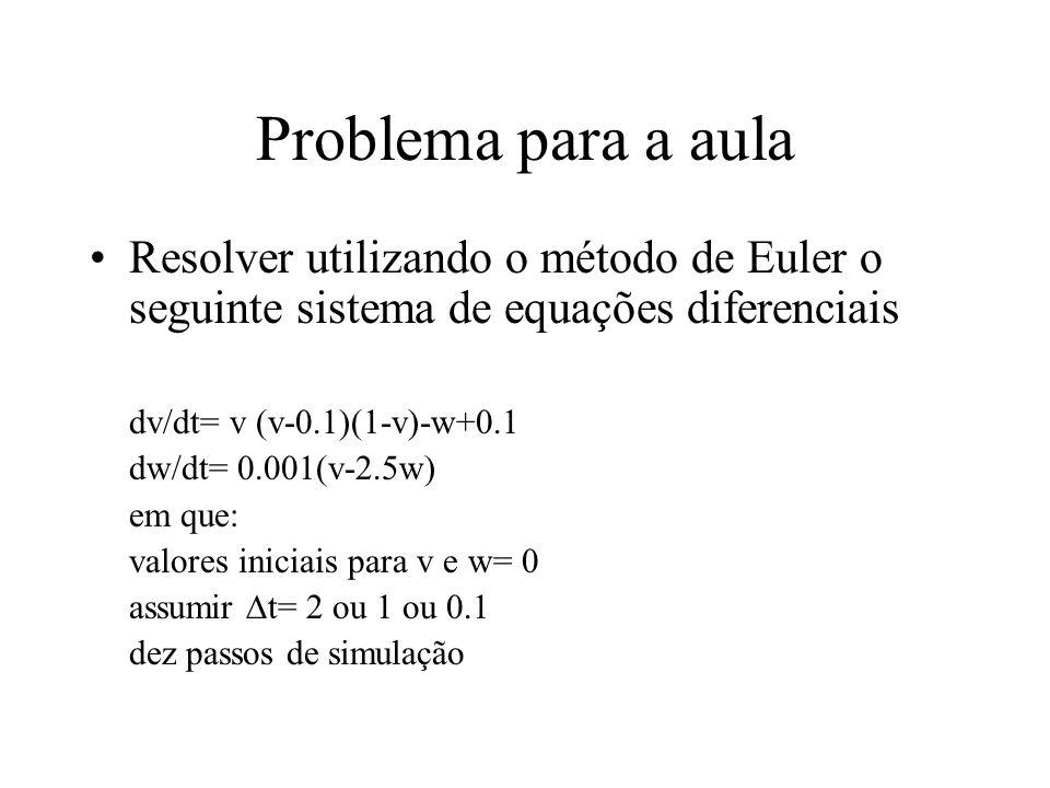 Problema para a aula Resolver utilizando o método de Euler o seguinte sistema de equações diferenciais dv/dt= v (v-0.1)(1-v)-w+0.1 dw/dt= 0.001(v-2.5w) em que: valores iniciais para v e w= 0 assumir  t= 2 ou 1 ou 0.1 dez passos de simulação