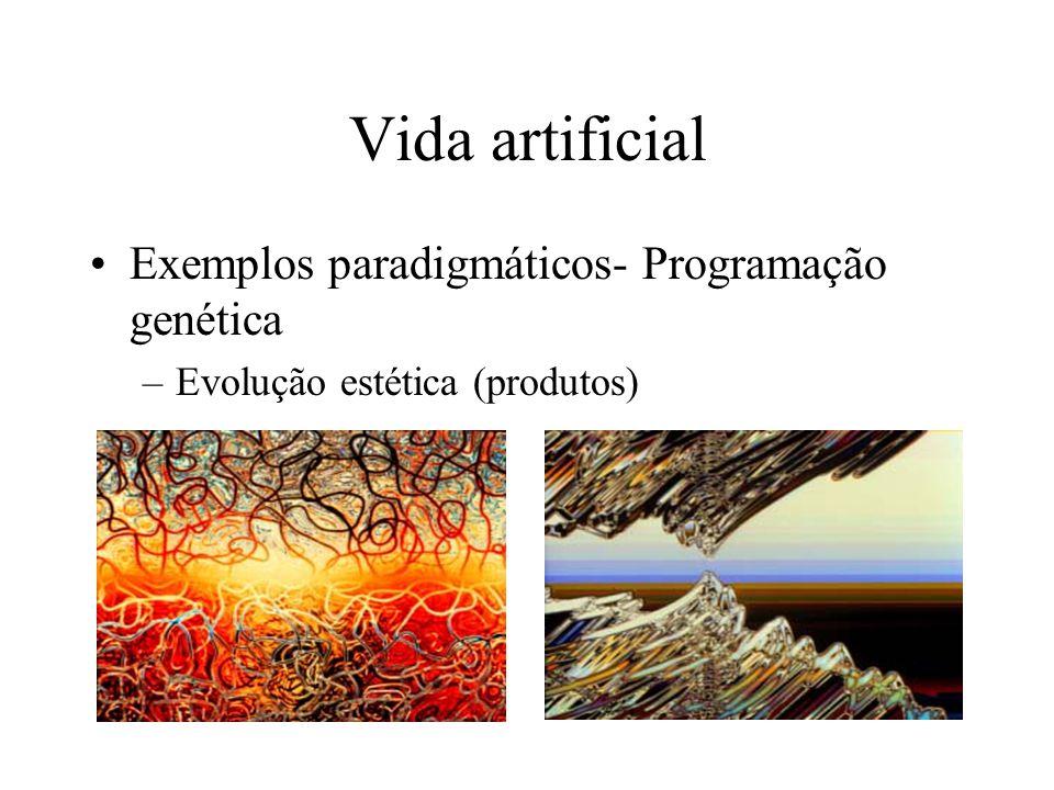 Vida artificial Exemplos paradigmáticos- Programação genética –Evolução estética (produtos)