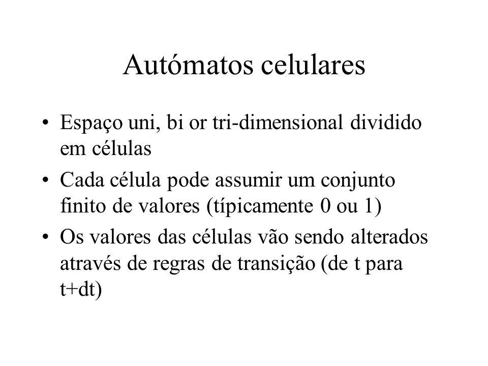 Autómatos celulares Espaço uni, bi or tri-dimensional dividido em células Cada célula pode assumir um conjunto finito de valores (típicamente 0 ou 1) Os valores das células vão sendo alterados através de regras de transição (de t para t+dt)