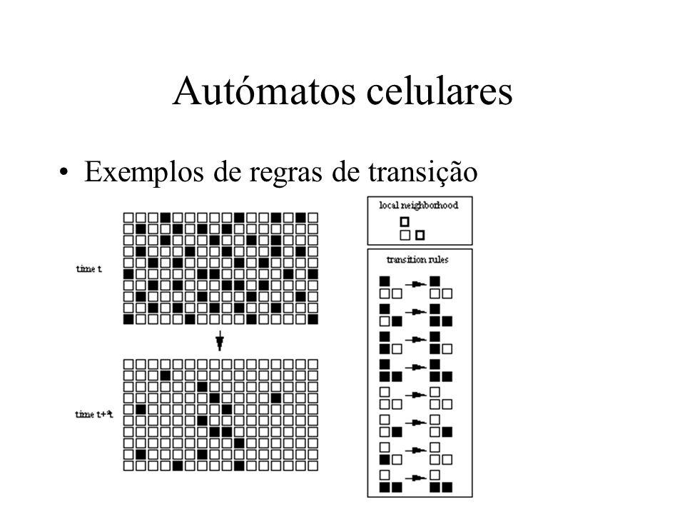 Autómatos celulares Exemplos de regras de transição