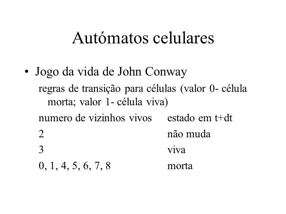Autómatos celulares Jogo da vida de John Conway regras de transição para células (valor 0- célula morta; valor 1- célula viva) numero de vizinhos vivosestado em t+dt 2não muda 3viva 0, 1, 4, 5, 6, 7, 8morta