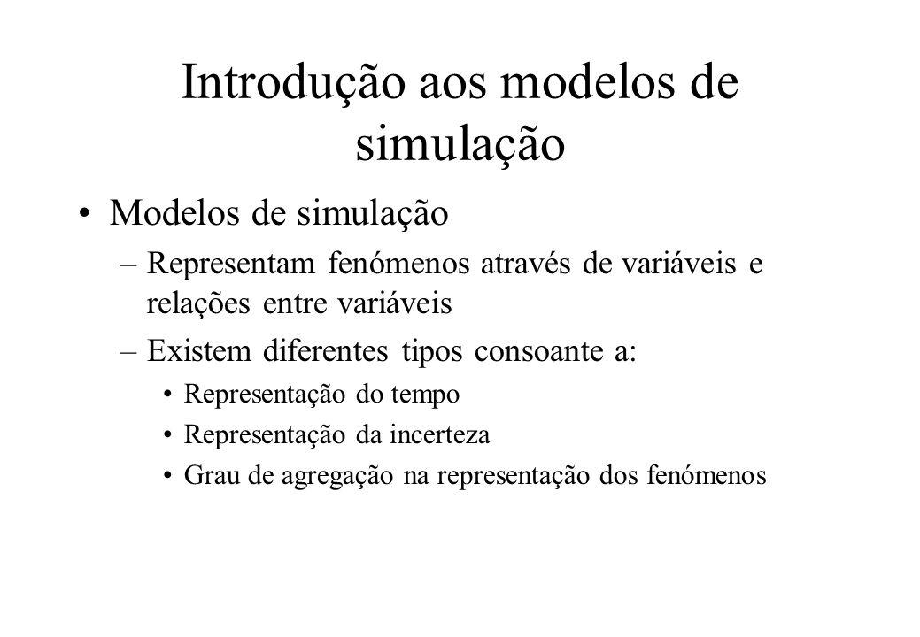 Introdução aos modelos de simulação Modelos de simulação permitem: –O estudo dos efeitos de alterações num sistema –Uma melhor compreensão de um sistema –A determinação da importância relativa de várias variáveis