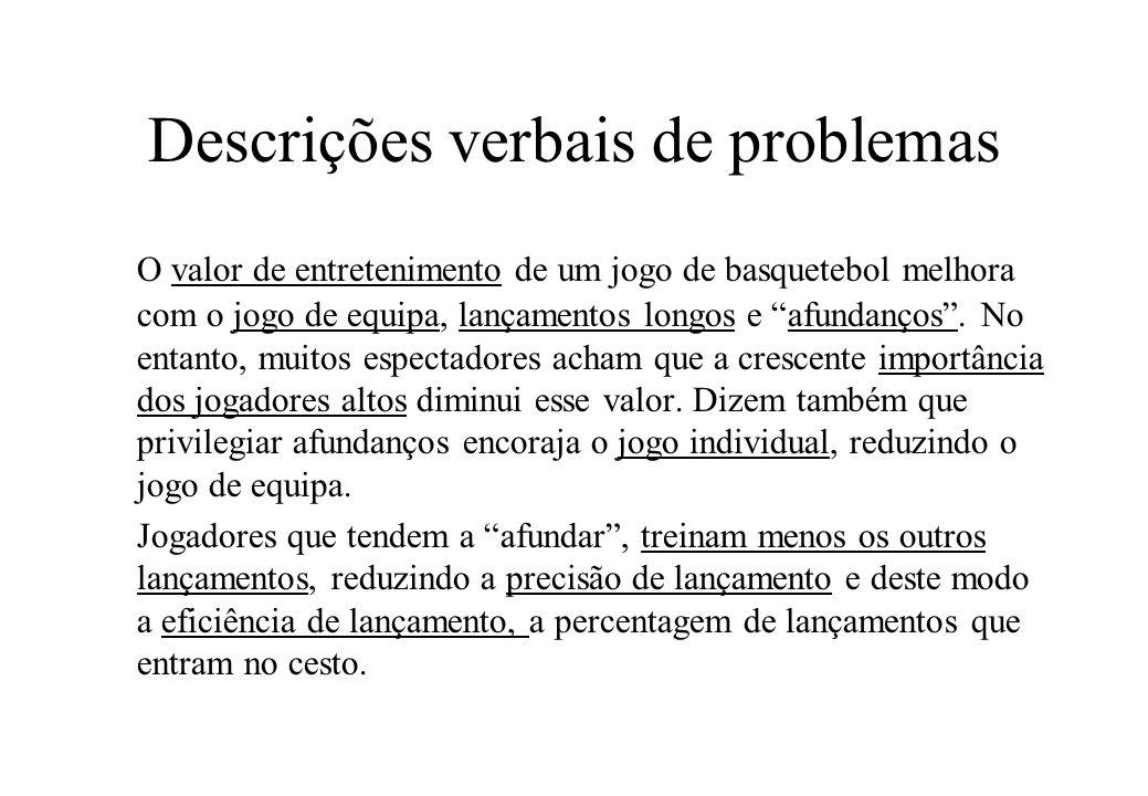 Descrições verbais de problemas A eficiência de lançamento também depende da dificuldade de lançamento (influenciada pelos opositores ou características do cesto).