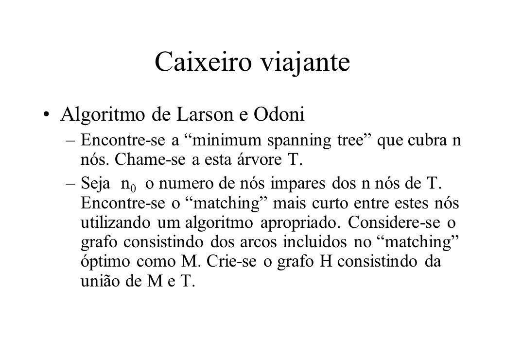"""Caixeiro viajante Algoritmo de Larson e Odoni –Encontre-se a """"minimum spanning tree"""" que cubra n nós. Chame-se a esta árvore T. –Seja n 0 o numero de"""
