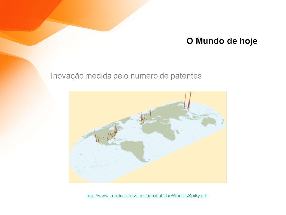 O Mundo de hoje Inovação medida pelo numero de patentes http://www.creativeclass.org/acrobat/TheWorldIsSpiky.pdf